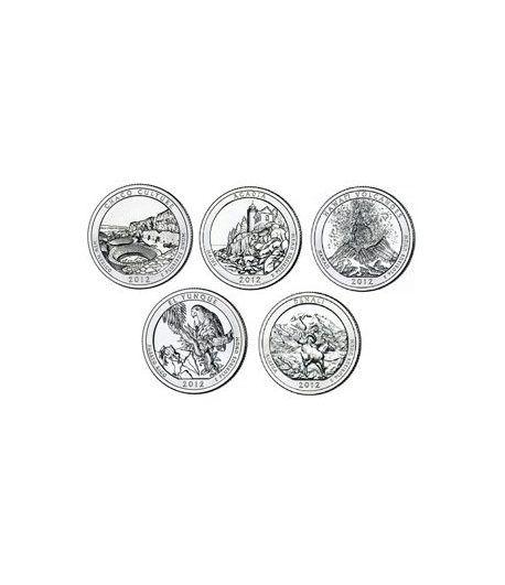 E.E.U.U. 1/4$ 2012 Parques Nacionales (5 monedas) ceca D  - 2