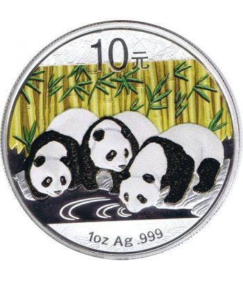 Moneda onza de plata color 10y. China Oso Panda 2013  - 1