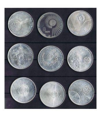 Monedas de plata de Portugal 8 Euros lote 9 monedas  - 1