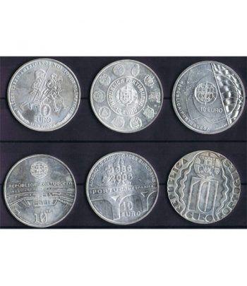 Monedas de plata de Portugal 10 Euros lote 6 monedas  - 1