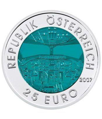 moneda Austria 25 Euros 2007 Aviación. Niobio-estuche.  - 1