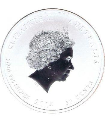 Moneda media onza de plata 1/2$ Australia Lunar 2014 Caballo  - 2