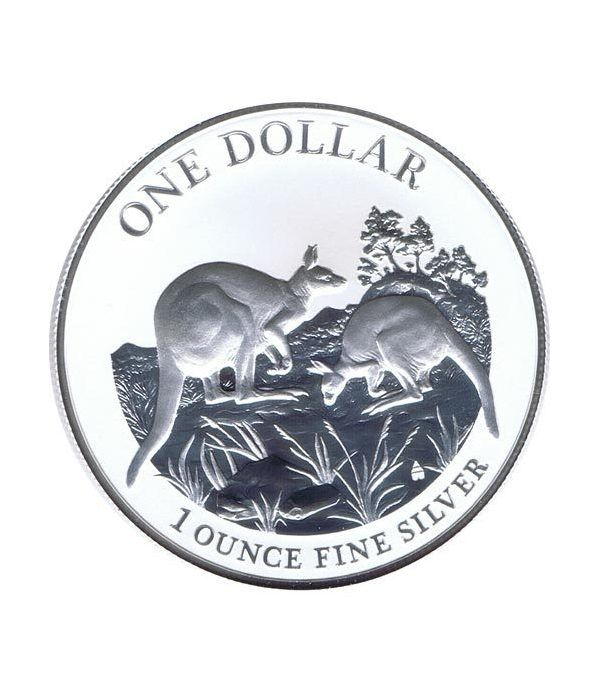 Moneda onza de plata 1$ Australia Canguro 2014  - 1