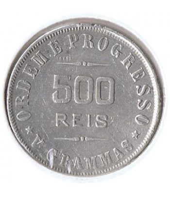 Moneda de plata 500 Reis Brasil 1906.  - 2
