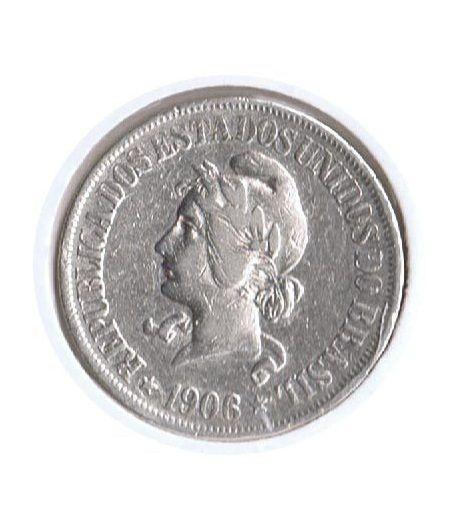 Moneda de plata 500 Reis Brasil 1906.  - 1
