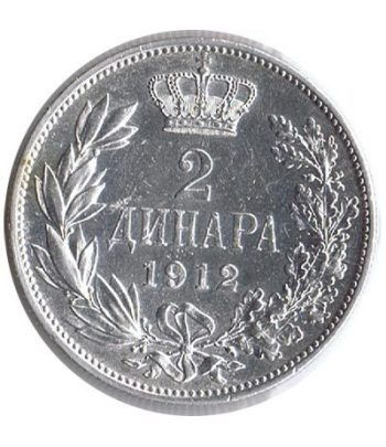 Moneda de plata 2 Dinara Serbia 1912.  - 1