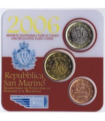 Cartera oficial euroset San Marino 2006 (3 monedas)  - 1