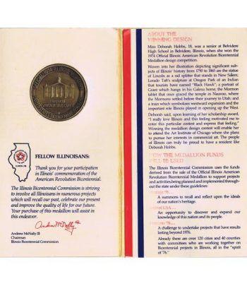 Medalla Bicentenario Revolución americana Illinois 1974 Bronce.  - 2