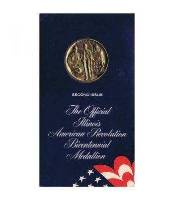 Medalla Bicentenario Revolución americana Illinois 1974 Bronce.  - 4