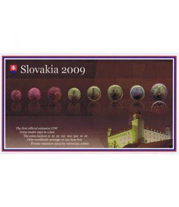 Cartera oficial euroset Eslovaquia 2009. Estuche madera.  - 1