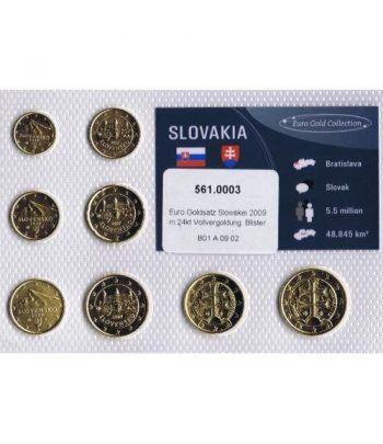 Cartera oficial euroset Eslovaquia 2009. Chapada en oro.  - 1