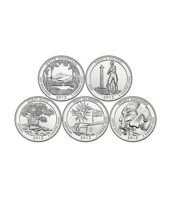 E.E.U.U. 1/4$ 2013 Parques Nacionales (5 monedas) ceca D  - 2