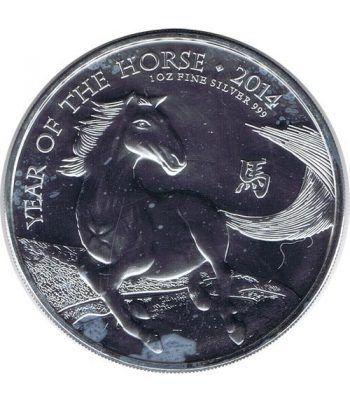 Moneda onza de plata 2 Pounds Gran Bretaña Caballo 2014  - 1