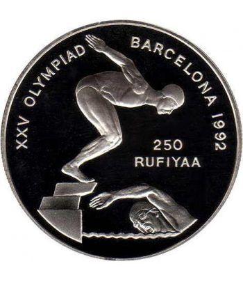 Moneda de plata 250 rufiyaa Maldivas Barcelona 1992  - 1