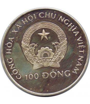 Moneda de plata 100 Dong Vietnam 1989. Barcelona 1992.  - 2