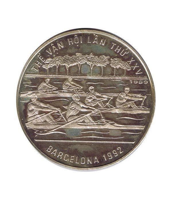 Moneda de plata 100 Dong Vietnam 1989. Barcelona 1992.  - 1