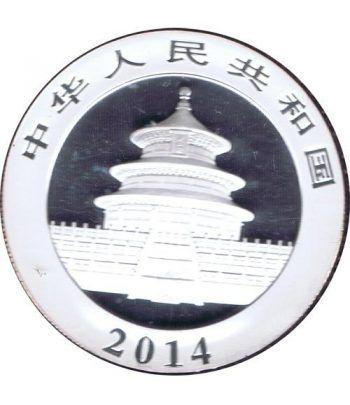 Moneda onza de plata color 10y. China Oso Panda 2014  - 2