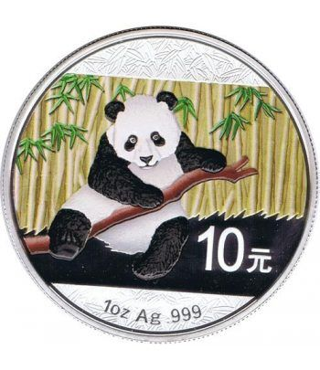 Moneda onza de plata color 10y. China Oso Panda 2014  - 1
