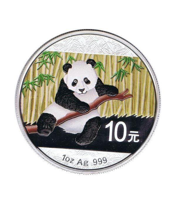 Moneda onza de plata color 10y. China Oso Panda 2014  - 1