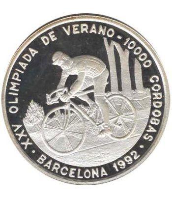 Moneda de plata 10000 Cordobas Nicaragua 1990. Ciclismo.  - 1