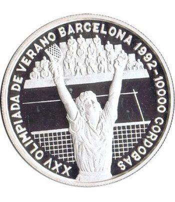 Moneda de plata 10000 Cordobas Nicaragua 1990. Tenis.  - 1