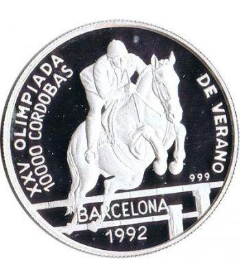 Moneda de plata 10000 Cordobas Nicaragua 1990. Hípica.  - 1