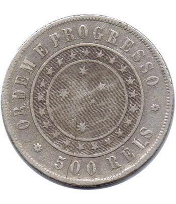 Moneda de plata 500 Reis Brasil 1889.  - 1