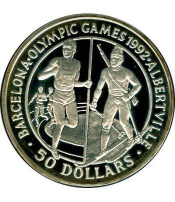 Moneda de plata 50 Dolares Cook 1989. Barcelona-Albertville 1992  - 1