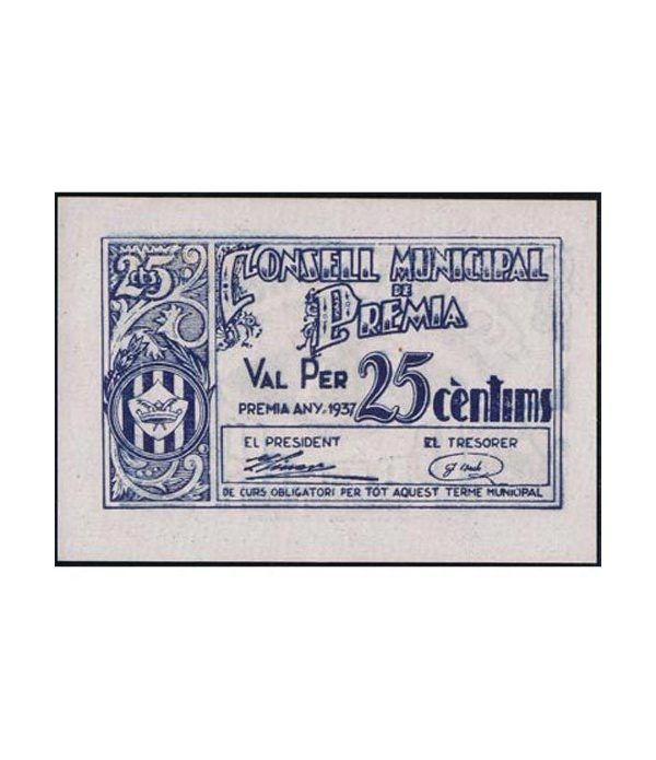 (1937) 25 centims Consell Municipal de Premia. SC  - 1
