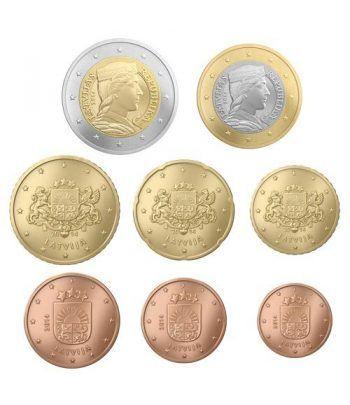 monedas de Letonia 2014. 8 monedas euro.  - 2