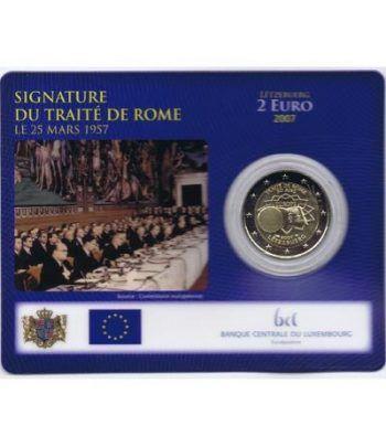 moneda Luxemburgo 2 euros 2007 Tratado de Roma. Estuche.  - 1
