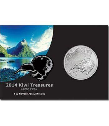 Moneda de plata 1$ Nueva Zelanda 2014. Kiwi.  - 1