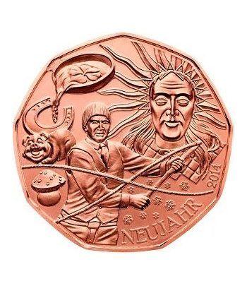 moneda Austria 5 Euros 2014 (nueve esquinas) Buena Suerte. Cobre  - 1
