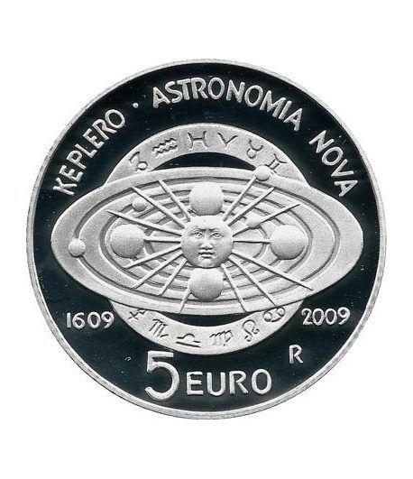 San Marino 5 Euros 2009. Johan Kepler. Astronomía. Plata  - 1