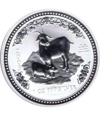 Moneda onza de plata 1$ Australia Lunar Cabra 2003  - 1
