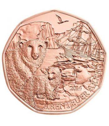 moneda Austria 5 Euros 2014 (nueve esquinas) Oso Polar. Cobre  - 1