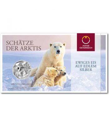 moneda Austria 5 Euros 2014 (nueve esquinas) Oso Polar. Plata  - 1
