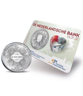 Holanda 5 Euros 2014. 200 Aniversario Banco Holandes.  - 2