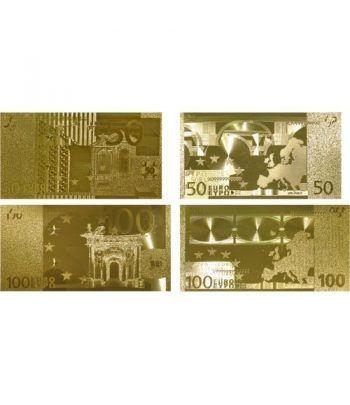Colección 7 Billetes de euro en oro de 24 kilates.  - 2
