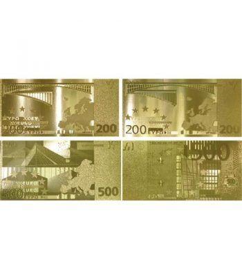 Colección 7 Billetes de euro en oro de 24 kilates.  - 4