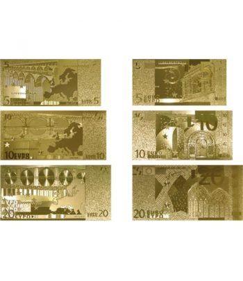 Colección 7 Billetes de euro en oro de 24 kilates.  - 6