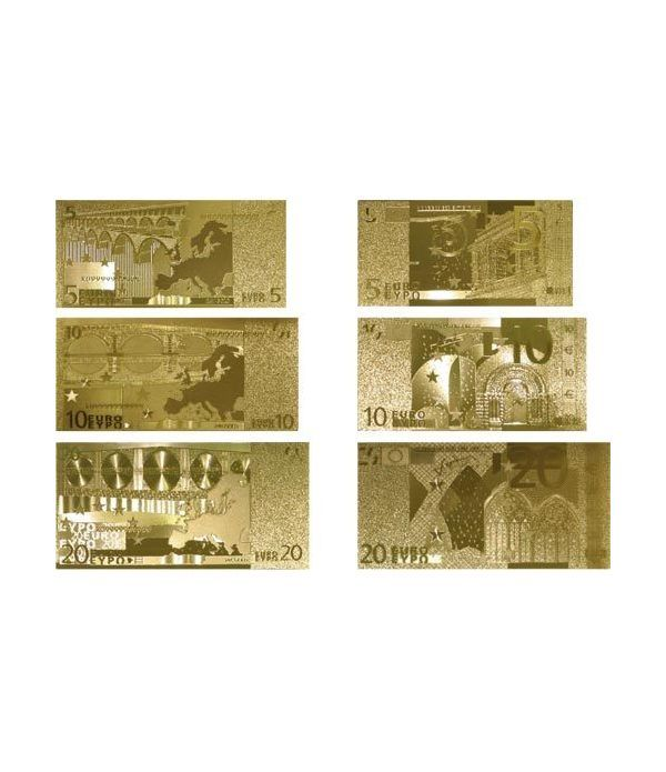 Colección 7 Billetes de euro en oro de 24 kilates.  - 1