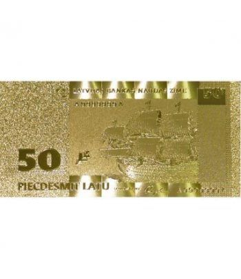 Billete de Letonia 50 Lats en oro de 24 kilates  - 1