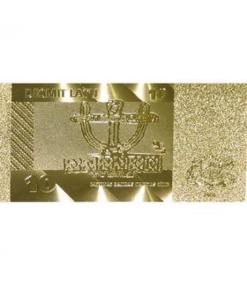 Billete de Letonia 10 Lats en oro de 24 kilates  - 2