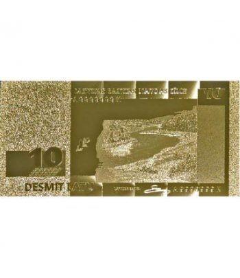 Billete de Letonia 10 Lats en oro de 24 kilates  - 4