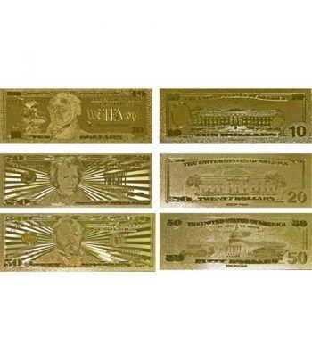 Colección 7 Billetes de Estados Unidos en oro de 24 kilates.  - 2