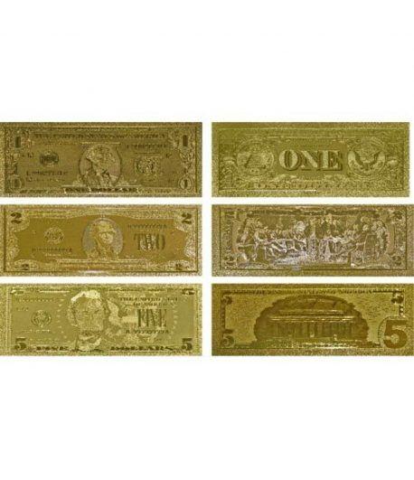 Colección 7 Billetes de Estados Unidos en oro de 24 kilates.  - 1