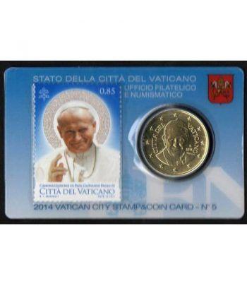 Cartera oficial euroset Vaticano 2014 (moneda 50cts.y sello)  - 1