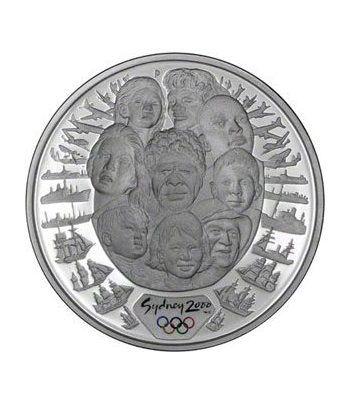 Moneda onza de plata 5$ Australia Sydney 2000. Razas. Estuche.  - 1
