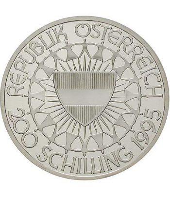 Moneda de plata 200 schillings Austria 1995 Ski Slalom. Proof.  - 2
